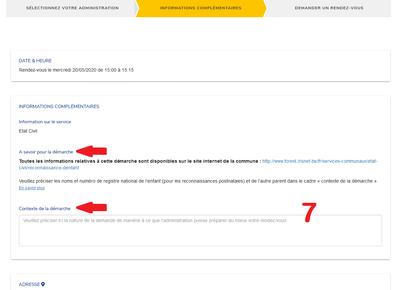 Prise de RDV en ligne écran 3 infos complémentaires FR